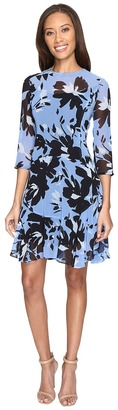 Donna Morgan - 3/4 Sleeve Aline Poly Chiffon Dress with Circle Flounce Women's Dress $128 thestylecure.com