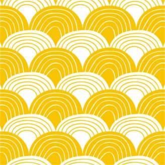 Swedish Linens - Mustard Yellow Cotton Rainbows Fitted Crib Bed Sheet - organic cotton   mustard yellow - Mustard yellow