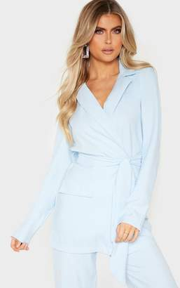PrettyLittleThing Tall Pastel Blue Tied Waist Suit Jacket