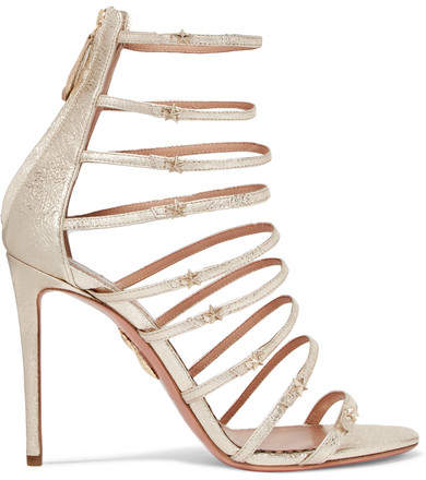 Aquazzura + Claudia Schiffer Star Embellished Metallic Textured-leather Sandals - Gold