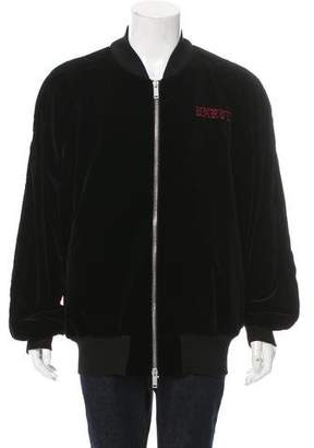 Unravel Project Skull-Embroidered Bomber Jacket