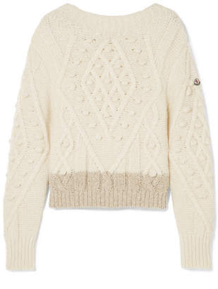 Moncler Two-tone Cable-knit Alpaca-blend Sweater - Cream