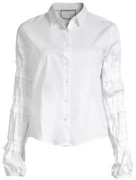 Alexis Andriel Ruched-Sleeve Button Top