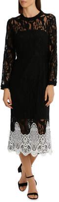High Neck Black Lace Dress With Applique
