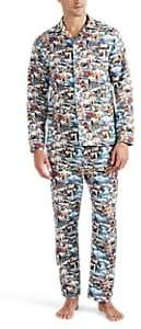Maison Marcy Men's Ski-Town Micro-Basket-Weave Cotton Slim Pajama Set - Neut. pat.