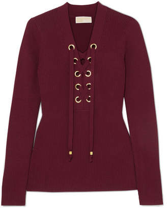 MICHAEL Michael Kors Lace-up Ribbed-knit Top - Burgundy