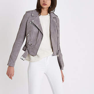 River Island Grey suede belted biker jacket