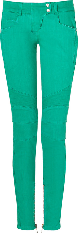 Balmain Bright Mint Low Rise Denim Biker Jeans