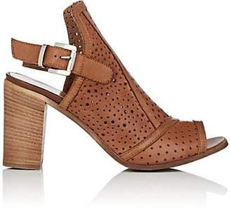 Barneys New York WOMEN'S PERFORATED LEATHER SLINGBACK SANDALS - BEIGE/TAN SIZE 10