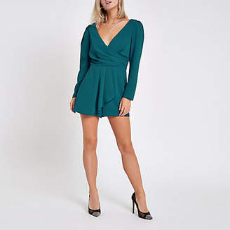 River Island Petite teal wrap front tie back romper