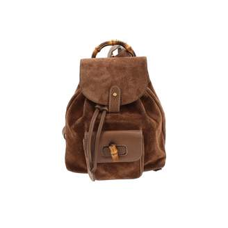 6167bc25458a Gucci Vintage Bamboo Brown Suede Backpacks