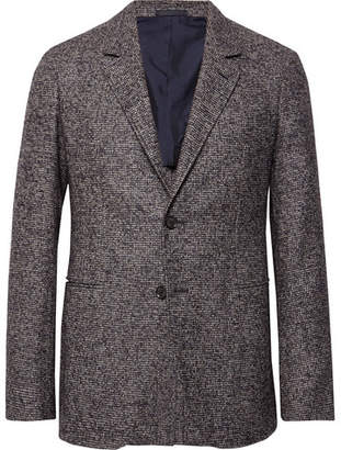 Caruso Charcoal Slim-Fit Unstructured Puppytooth Alpaca And Wool-Blend Blazer