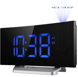Mpow Projection Clock, FM Radio Alarm Clock, Curved-Screen Digital Alarm Clock, 5'' LED Display with Dimmer, Dual Alarm with USB Charging Port, 12/24 Hours (Blue)