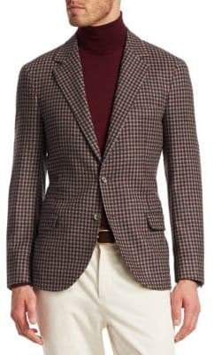Brunello Cucinelli Small Check Wool& Cashmere Blazer