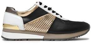 MICHAEL Michael Kors Paneled Laser-cut Smooth And Metallic Leather Sneakers