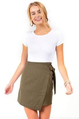 Blaire Wrap Mini Skirt - Olive