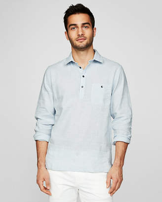 Express Slim Striped Linen-Blend Popover Shirt