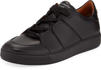 Ermenegildo Zegna Men's Tiziano Leather Low-Top Sneakers, Black