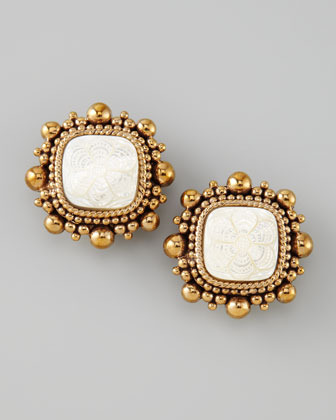 Stephen Dweck Floral-Carved Clip Earrings