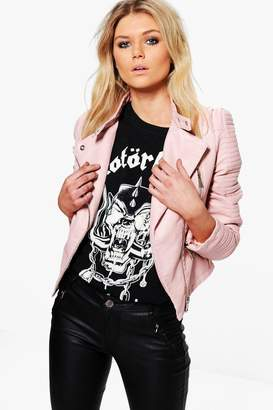 boohoo Quilted Sleeve Faux Leather Biker Jacket