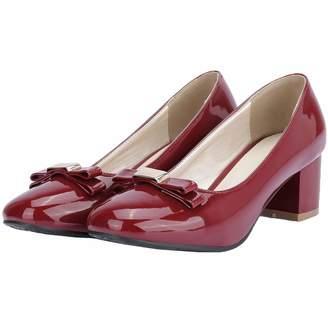 80f3a6c03ed Vitalo Womens Mid Block Heel Bowtie Pumps Patent Leather Square Toe Court  Shoes Size