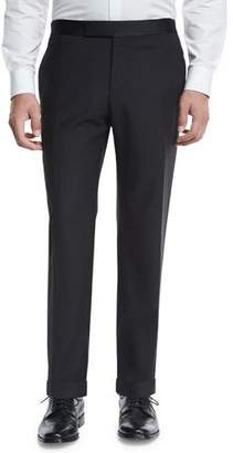 Zanella Formal Flat-Front Trousers, Black