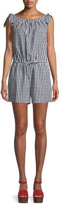 Tory Burch Round-Neck Sleeveless Gingham Coverup Romper