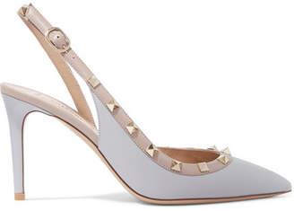 Valentino Garavani The Rockstud Leather Slingback Pumps - Gray