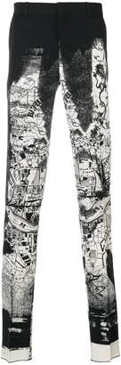 Alexander McQueen printed tailored trousers