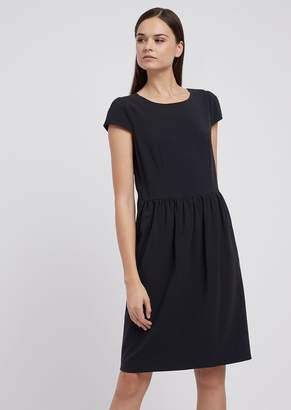 Emporio Armani Dress In Light Wool With Gathered Waistline