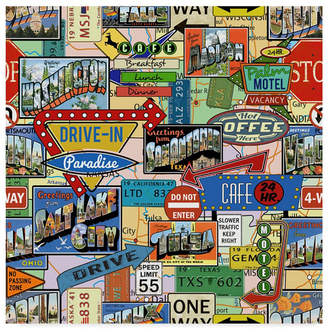 """Jean Plout 'Travel Signs' Canvas Art - 35"""" x 35"""""""