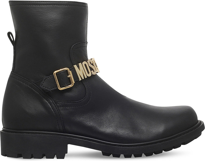 Moschino MOSCHINO Brussels logo-detail leather boots 6-8 years