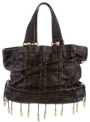Donna Karan Leather Drawstring Tote