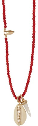 Hirsch Aron & Karo Diamond & 18kt Gold Beaded Necklace - Womens - Red