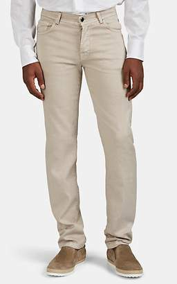 Marco Pescarolo Men's Denim-Effect Linen-Cotton Five-Pocket Trousers - Beige, Tan