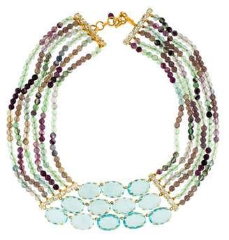 Bounkit Fluorite & Crystal Multistrand Necklace