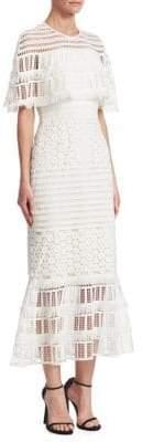 Lela Rose Flounce Hem Lace Capelet Dress