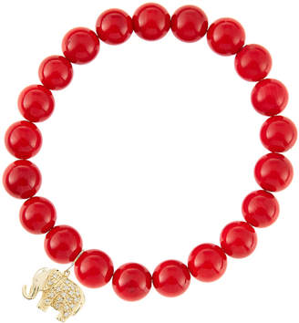 Sydney Evan 8mm Red Coral Beaded Bracelet with 14k Gold/Diamond Small Elephant Charm (Made to Order)