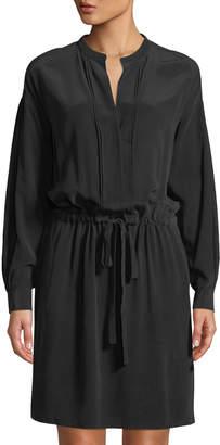 Vince Shirred Drawstring Long-Sleeve Silk Dress