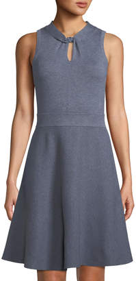 Milly Twist-Neck Fit-&-Flare Dress