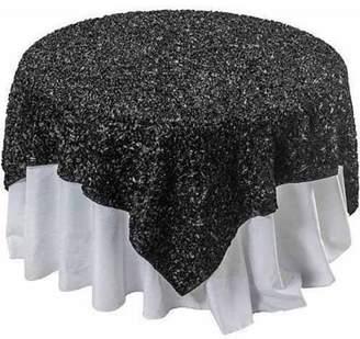 "±0 0 Wavy Satin Table Overlay, 58"" x 58"", Black"