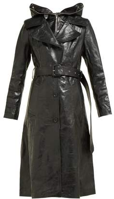 Vetements Masked Leather Trench Coat - Womens - Black