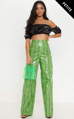 PrettyLittleThing Petite Neon Lime PU Snake Print Wide Leg Trouser