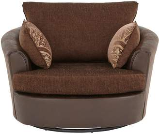 Very Gatsby Fabric and Faux Snakeskin Swivel Chair