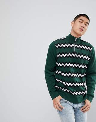 Asos Chevron Stripe Half Zip Sweater In Green
