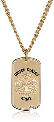 Men's 14k Gold-Filled United States Army Saint Michael Dogtag Medal with Gold Plated Stainless Steel Chain Pendant Necklace