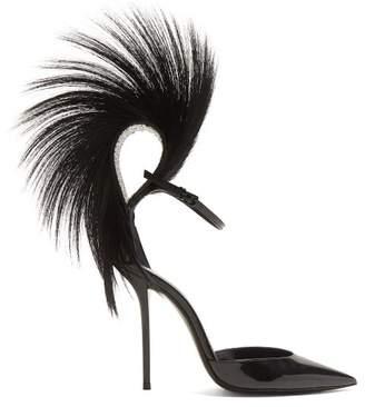 Saint Laurent Jamie Fur And Crystal Embellished Leather Pumps - Womens - Black