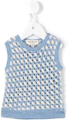 Cashmirino Lattice knit tank top