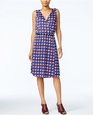 Tommy Hilfiger Houndstooth Faux-Wrap Dress, Created for Macy's $98.50 thestylecure.com