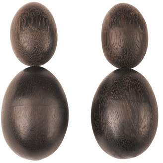 Josie Natori Acacia Wood Double Teardrop Earrings